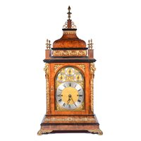 Lot 215-Late Victorian figured walnut mantel clock
