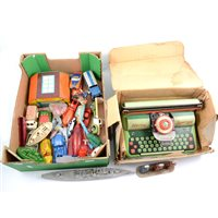 Lot 99 - Tin-plate, metal and plastic models, including automatic garage by Glam toys, typewriter, cast metal petrol pumps