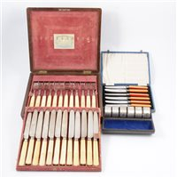 Lot 103-Regency dessert canteen by Joseph Rodgers & Sons, a cased set of Art Deco tea knives, and napkin rings