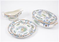 Lot 62-Staffordshire earthenware dinner service, circa 1900 printed Japan pattern.