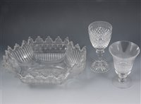 Lot 60-Regency cut glass dessert dish, width 31cm, set of six lead crystal wine glasses, and a collection of rummers .