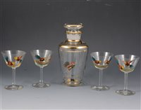 Lot 79-A large collection of cocktail glasses, some with enamel decoration, [3 boxes].