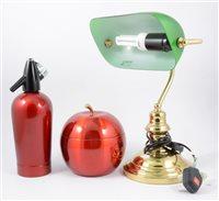 Lot 98-A vintage style brass desk lamp, 27cm, Sparklets soda syphon, similar ice bucket, and gilt metal figures.