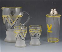 Lot 52-A collection of cocktail glasses, shakers, lemonade sets, etc, [4 boxes]