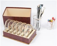 Lot 96-A collection of cocktail sticks, other cocktail related items and household linen, [2 boxes]
