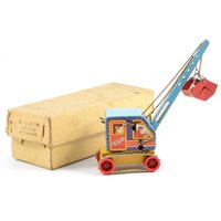 Lot 98-Wells-Brimtoy tin-plate ACE Construction crane lift, with original box, tracks and scoop.