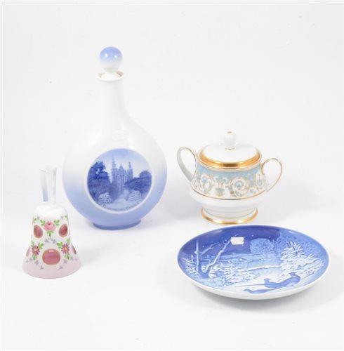 Lot 28-Royal Copenhagen flask, Royal Worcester white porcelain figure Grace, and other decorative ceramics.