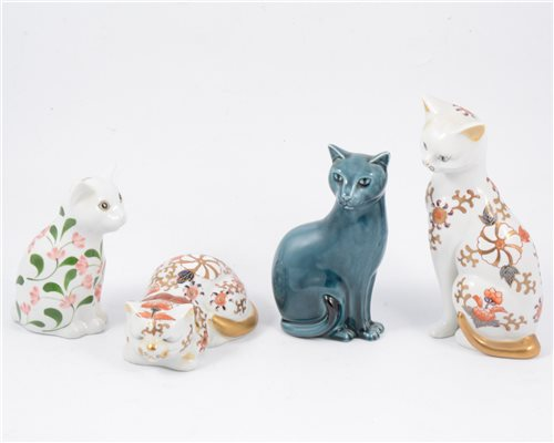 Lot 41-A Beswick model of a Basset hound, a Winstanley model of a Siamese cat and a large collection of cat models