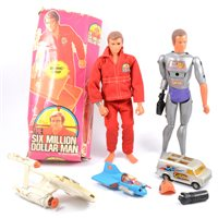 Lot 132-Six Million Dollar Man and Maskatron figures, one is a/f box, with accessories