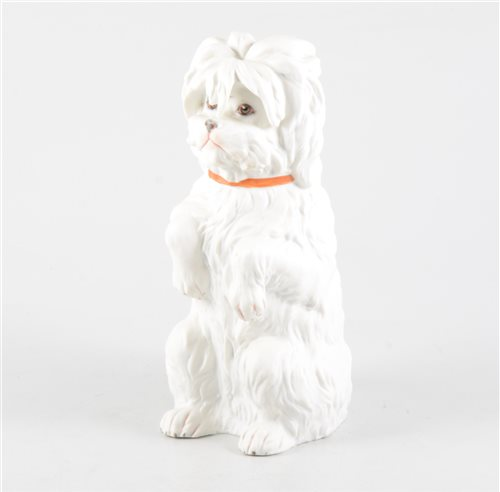 Lot 30-Continental bisque porcelain model, Begging Dog, printed and impressed marks, GH, 23cm.