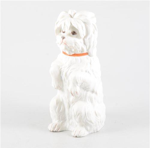 Lot 30-Continental bisque porcelain model, Begging Dog, printed and impressed marks, GH, 23cm.