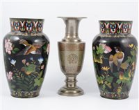 Lot 89-Indo-Persian white metal vase and a pair of Chinese cloisonné vases, (3)