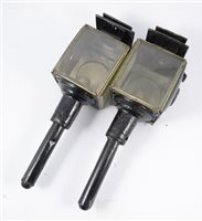 Lot 102-Pair of black japanned carriage lamps,  44cm (2)