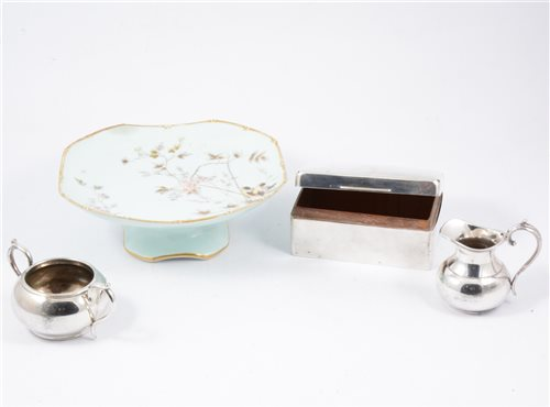 Lot 17-Three Minton floral plates and pair of matching shallow dishes, continental part dessert service, silver cigarette box (af), two silver-plated toast racks , modern Poole pottery bowl etc.