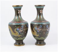 Lot 88-Pair of cloisonné vases, shouldered form, with dragon design.