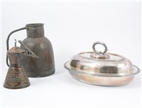 Lot 84A-A pair of silver plated entree dishes by Barker Bros, copper and brass wares etc (one box).