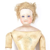 225 - French bisque head fashion doll,