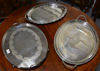 Lot 83-A large silver plated galleried tray by Mapin and Webb, and two others.