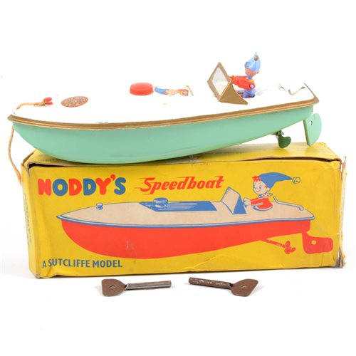 Lot 94-Sutcliffe tin-plate model Noddy's Speedboat, with Noddy figure, logos and original box.