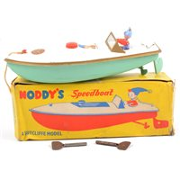 Lot 94-Sutcliffe tin-plate model Noddy's Speedboat, with Noddy figure, logos and original box.