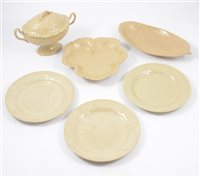 Lot 26-Wedgwood earthenware part dessert service, leaf moulded designs