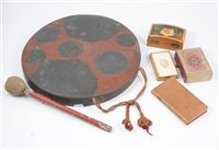 Lot 99-An Eastern metal gong, Lion Menucator box, and various ethnographic items, etc.