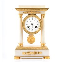 Lot 83-French Second Republic white marble and gilt metal portico clock