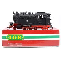 Lot 52-LGB railways G scale 2-6-2 Tank steam locomotive in DR black livery no.23802, boxed.