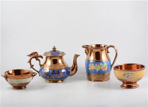 Lot 33-A collection of Victorian copper lustre pottery.