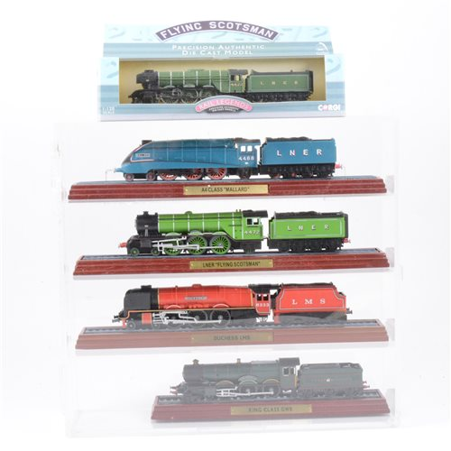 Lot 37-Sixteen model railway engine models on plinths and in plastic presentation cases