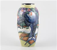 Lot 30-A Moorcroft 'Swallows' vase, 25cm, designed by Rachel Bishop, signed in blue WM, 294/500, date marked 1998, impressed Moorcroft Made in England.