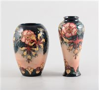 Lot 4-Two Moorcroft 'Oberon' vases, 20.5cm and 17.5cm, both signed blue WM with silver line, date marked 1997, impressed Moorcroft Made in England (2).