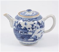 Lot 9-Chinese export porcelain blue and white teapot, Qianlong