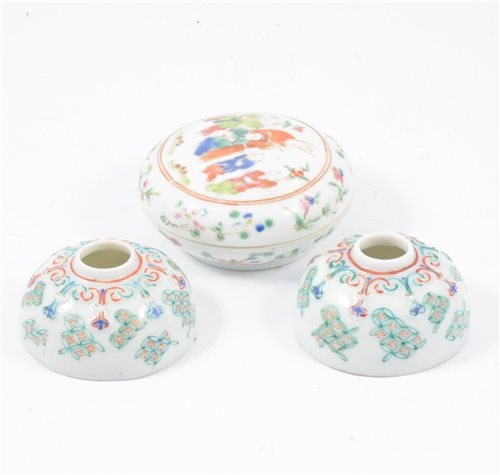 Lot 25-Chinese famille rose circular cushion shape box, and a pair of polychrome decorated circular brush pots