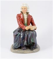 Lot 57-Reginald Johnson, a hand-painted pottery figure, Ludwig Van Beethoven.