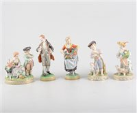 Lot 20-Pair of Dresden porcelain figures, 20th Century, modelled as a gentleman taking snuff and a flower girl,  18cm; another pair of Dresden figurines, a girl with a lamb, boy with a dog, 15cm and a Dre...