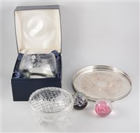 Lot 19-Set of Edinburgh crystal sherry glasses; other table crystal; two Caithness paperweights, etc