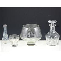 Image for Set of Edinburgh crystal sherry glasses; other table crystal; two Caithness paperweights, etc