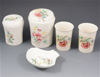 Lot 78-Porcelain bathroom set by Heatherly, Chessington, together with other plates and ceramics.