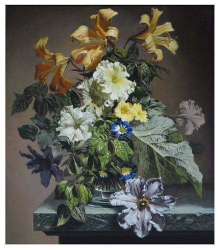 285 - Bennett Oates, Still life of flowers in a vase, oil on panel.