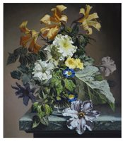 Lot 285-Bennett Oates, Still life of flowers in a vase, oil on panel.