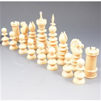 Lot 201-Ivory chess set, in the style of Charles Hastilow, c1850, king size 10.9cm.