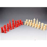 201 - Ivory chess set, in the style of Charles Hastilow, c1850, king size 10.9cm.