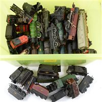 Lot 17-Large quantity of loose playworn and damaged OO gauge railway locomotives and tenders, one box, various makers.