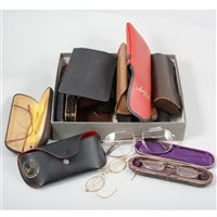 Lot 111-A collection of wire rimmed spectacles and later sunglasses etc including vintage Ray-ban approximately 19 pairs.