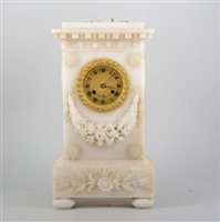 Lot 118-19th Century French alabaster mantel clock
