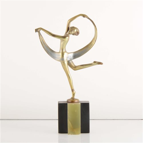 591 - An Art Deco cold painted bronze model of a scarf dancer, by Josef Lorenzl.