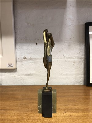 Lot 591 - An Art Deco cold painted bronze model of a scarf dancer, by Josef Lorenzl.