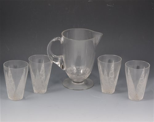 Lot 30-Rene Lalique, a lemonade jug and six associated tumblers, pre-1945