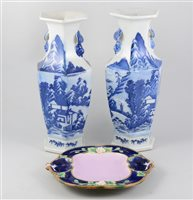Lot 45-Pair of Japanese blue and white hexagonal vases